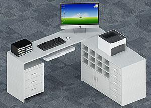 3d现代<font class='myIsRed'>办公桌</font>工位模型