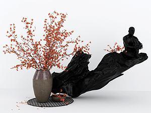 中式人物摆件模型3d模型