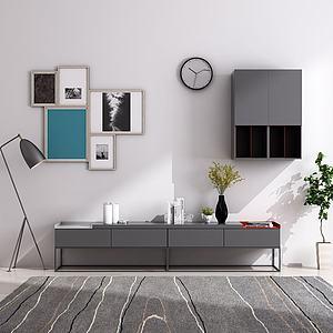 现代简约电视柜壁柜模型3d模型