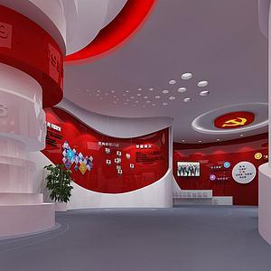 黨建展廳模型3d模型