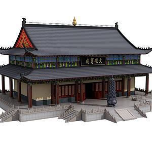 中式古建宝殿模型