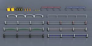 道路隔离护栏3d模型