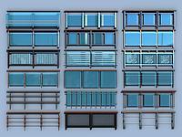 現代玻璃欄桿護欄扶手3d模型