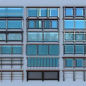现代玻璃栏杆护栏扶手模型