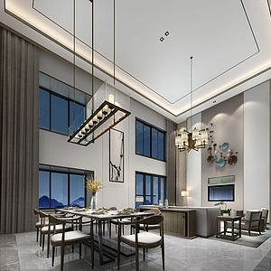 別墅開放式餐廳客廳模型3d模型