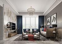 现代客厅沙发茶几吊灯3d模型