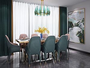 欧式餐桌椅吊灯组合3d模型