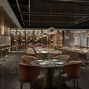 新中式餐廳自助餐廳模型3d模型