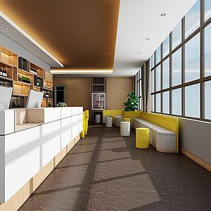 現代餐廳前臺桌椅舞臺3d模型