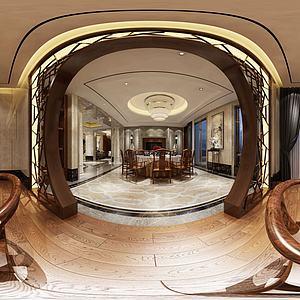新中式餐客廳模型3d模型