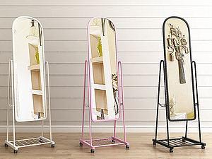 现代落地穿衣镜组合3d模型