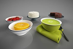 3d食物草莓<font class='myIsRed'>蛋糕</font>橙子模型