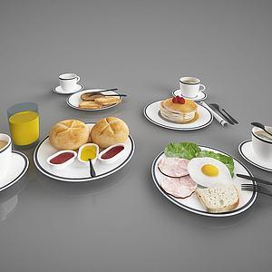 现代食物摆件模型