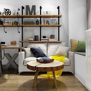 北欧书桌沙发茶几组合模型