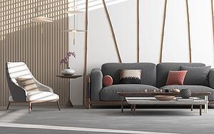 3d北欧沙发茶几组合模型