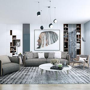 北欧现代沙发茶几组合模型