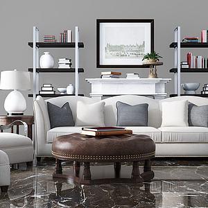 美式沙发茶几组合模型