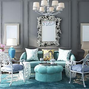 美式沙发茶几模型