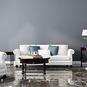 美式沙发茶几壁炉组合模型