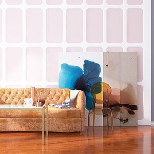 后现代单椅沙发茶几组合模型