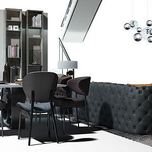 客餐厅沙发茶几电视背景墙模型