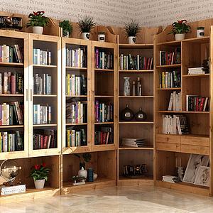 现代实木转角书柜书籍组合模型