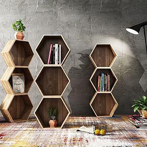 现代实木装饰架盆栽组合模型