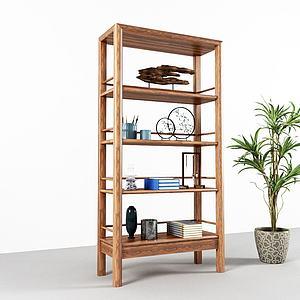 实木装饰架盆栽模型