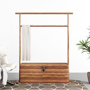 实木衣架休闲椅盆栽组合模型