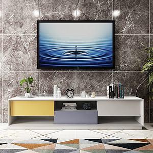现代电视柜摆件组合模型