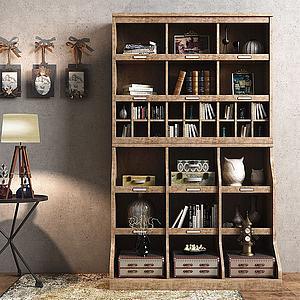 实木书柜茶几台灯挂件模型