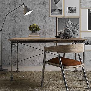 工业风书桌椅子3d模型