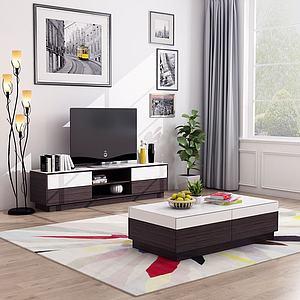 现代电视柜茶几壁画模型