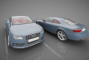 现代奥迪小汽车模型3d模型