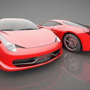 现代红色跑车模型