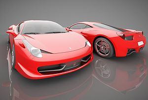 现代红色跑车模型3d模型