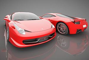 3d现代红色跑<font class='myIsRed'>车</font>模型
