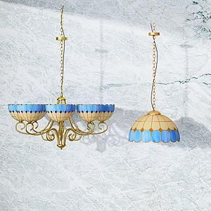 现代玻璃吊灯模型
