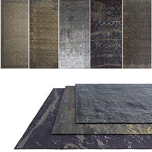 中式素色地毯模型