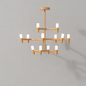创意实木吊灯模型