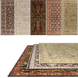 中式复古花色地毯组合模型