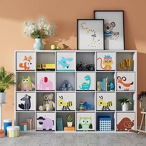 现代儿童书柜模型
