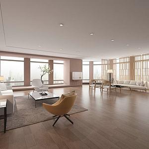 现代简约客厅会客厅模型