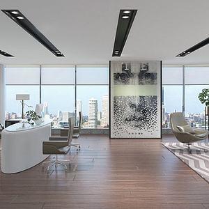 现代办公室会客厅模型