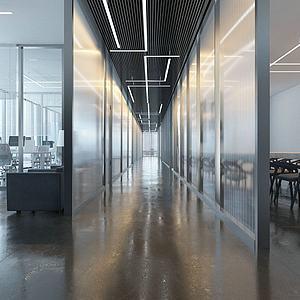 现代办公区办公室模型