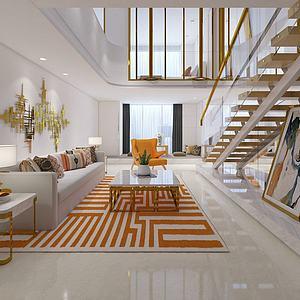 现代别墅客厅模型