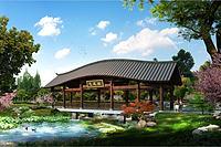 中式建筑景区廊桥3d模型