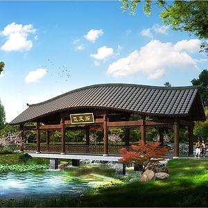 中式建筑景區廊橋模型3d模型