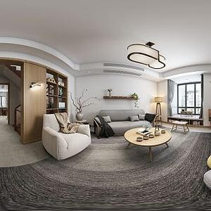 简约客厅沙发壁柜组合模型3d模型