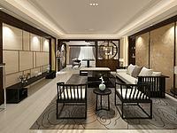 新中式客餐厅3d模型